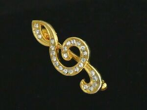PRETTY Small Goldtone & Clear Crystal Stone Double Clef Musical Note BROOCH