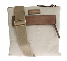 NEW $500 DOLCE & GABBANA Beige Canvas Leather Crossbody Messenger Shoulder Bag