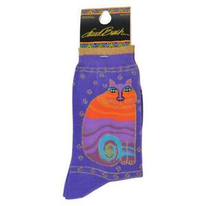 "Laurel Burch ""Rainbow""  Purple Cat Socks * One Size Fits Most"
