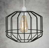 INDUSTRIAL WIRE CAGE STYLE EASY FIT RETRO CEILING PENDANT LIGHT/LAMP SHADE METAL