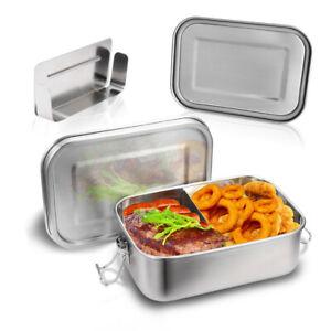 Edelstahl Brotdose Auslaufsicher &dicht 800ml Lunchbox mit 2 Fächern Vesperdose