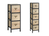 Solid Wood Drawer Chest Storage Unit Bedroom Office Organisers With Metal Frame