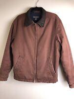 Vintage Banana Republic Men's S Cotton Bomber Jacket Brown Leather Collar Zip Up
