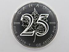 2013 1 oz SILVER  25th ANNIVERSARY OF THE SILVER MAPLE LEAF COIN $5 9999 RCM