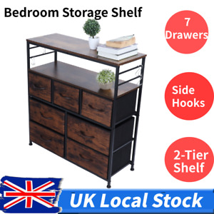 Industrial Bedside Table Cabinet Chest of 7 Drawers Storage Nightstand Sideboard
