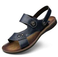 Men Business Flip Flops Classic Sandal Geniune Leather Sandals Roman Beach Shoes