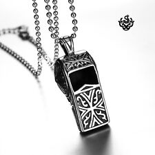 Silver Stainless Steel vintage carving pattern whistle Pendant Chain Necklace