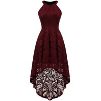 Women Halter Floral Lace Cocktail Evening Party Dress Hi-Lo Bridesmaid Dress