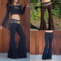 Women Gothic Vintage High Waist Bell Bottom Wide Leg Long Pants Flared Trousers