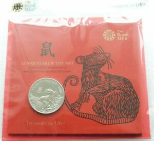 2020 Royal Mint Lunar Rat BU £5 Five Pound Coin Pack Sealed - First Year Issue