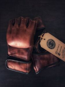 Retro Reborn Brown Leather 4oz MMA Gloves Adult Size, Boxing Gloves