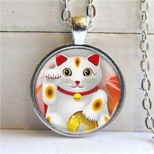Vintage Lucky cat Cabochon Tibetan silver necklace for women men Jewelry #47