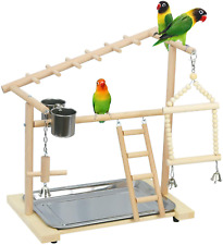 New listing Parrot Bird Playground Birdcage Wood Perch Stand Ladder Swing with Feeder Cups!