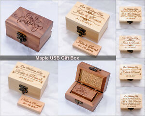 Personalised Wooden USB 3 Pen Drive 8GB 16 32 64 128GB Wedding Photography Love