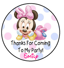 BABY MINNIE BIRTHDAY THANK YOU (THANKS) FOR COMING TO MY PARTY STICKERS FAVORS