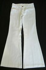 Vintage 70'S White Pin Striped Hip Hugger Bell Bottom Jeans Pants