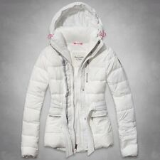 Abercrombie & Fitch By Hollister Women Sporty Belted Puffer Jacket White M