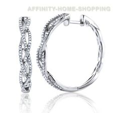 1/2 Carat Medium Diamond Twist Hoop Earrings in 9K White Gold Finish