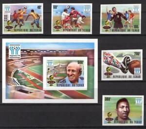 Soccer 1978 C09 MNH Chad 5v block imperf CV 30 eur