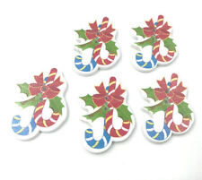 40x Christmas crutches sugar Wooden buttons decoration Kid's crafts sewing 35mm