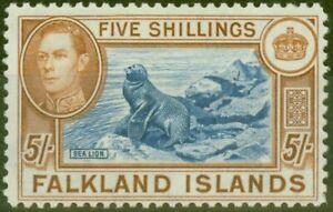 Falkland Islands 1938 5s Blue & Chestnut SG161 Fine Lightly Mtd Mint