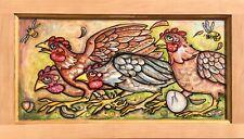 CHICKEN RUN !  Original Chickens Art Painting By Lisa Luree RUNNING HENS