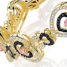 Sterling Silver 14k Overlay Heart Tennis Bracelet black, white & pink CZ's