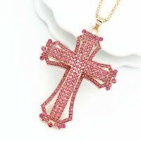 Women's Pink Rhinestone Cross Pendant Sweater Chain Betsey Johnson Necklace