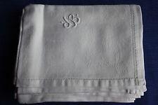 Lot de 6 serviettes de table anciennes en damassé monogramme DB