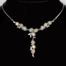 COLLIER /HALSKETTEN 925 Sterling Silber Weißgold beschichtet Opal Cubic Zirconia