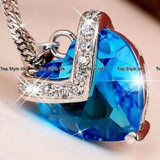 XMAS GIFTS FOR HER 925 Silver Blue Crystal Diamond Necklace Present Women Mum B6