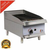 "15"" Natural Gas Lava Rock Commercial Restaurant Kitchen Countertop Charbroiler"