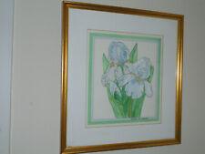Lavendar And Light Blue Iris Watercolor By Burton Cleaves Sandwich Nh