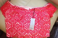 BNWT🌹Coast🌹Size 12 -14 Lily Lace Bardot Red / Coral Cropped Prom Party Top New