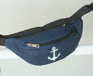 Anker Hüfttasche Bauchtasche Gürteltasche Jeans Vintage Meer Umhängetasche blau