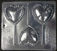 Valentine's Heart with Arrow Lollipop Chocolate Plastic Candy Soap Mold CML 3028