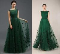 Emerald Green Long Prom Dress Evening Formal Party Gown FlowerS Beads S-3XL 2019