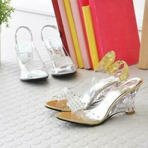 Womens Fashion Clear Wedge Heels PeepToe Party Dress Flip Sandals Shoes loafer