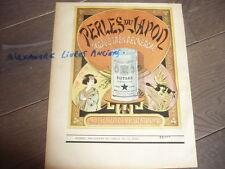 GRANDE PUBLICITE 1890 PERLES DU JAPON POTAGE
