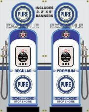 GAS PUMP SET PURE GAS STATION VINTAGE GARAGE DISPLAY BANNER SIGN ART 2- 2' X 5'
