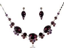Purple Crystal Rhinestone Pendant Necklace Chain Bridal Party Wedding Accessory