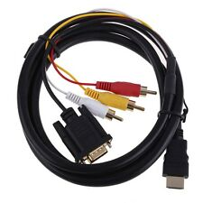 5ft HDMI to 3 RCA VGA Converter Adapter Cable 1080P Gold Plated for PS4 XBOX 360