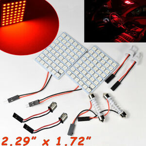 2x 48 LED Red Lamp Panel Dome Roof Light T10 Festoon BA9S Adapter A H L S JP