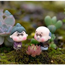 Mini Figurines Miniature Old Granny Grandpa Resin Crafts for Garden Decoration