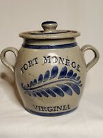 Vintage Salt Glazed Cobalt Blue Fort Monroe VA Pottery Butter Cream Pot Lid  EUC