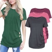 Tunica Estate Basic Top da Donna Manica Corta Girocollo Larga Maglia Camicia