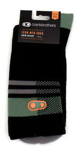 Crank Brothers Icon Mountain Bike Socks, Black/Green, Large/Extra Large 43-48