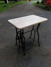 Antique  Sewing Machine Base Marble Top Cast Iron Garden Table