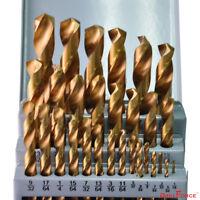 "Drillforce 29PCS 1/16""~1/2"" Titanium Drill Bits Set HSS Jobber Length Twist Tool"