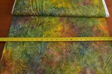 By 1/2 Yd, Green Orange Yellow Tonga Batik, Timeless Treasures/B6287/FOREST B815